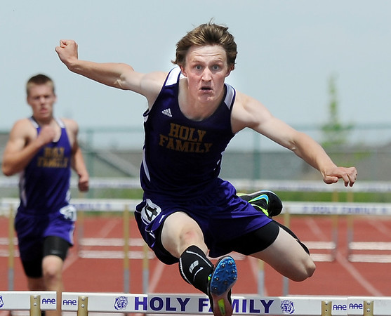 Holy Family's Ryan Willis running in the 300 meter hurdles during Saturday's Tiger Tornado Invitational trackmeet at Mike G. Gabriel Stadium.<br /> May 05, 2012 <br /> staff photo/ David R. Jennings