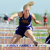 Holy Family's Cassie Gills running in the 100 meter hurdles during Saturday's Tiger Tornado Invitational trackmeet at Mike G. Gabriel Stadium.<br /> May 05, 2012 <br /> staff photo/ David R. Jennings