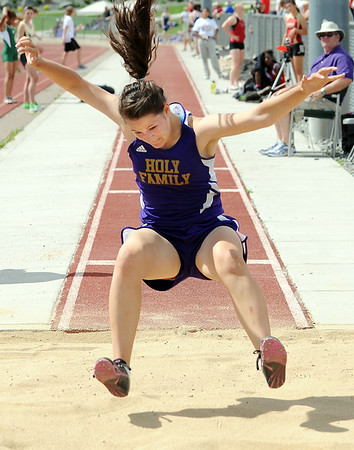 Holy Family's Rebeka Locricchio jumping in the long jump during Saturday's Tiger Tornado Invitational trackmeet at Mike G. Gabriel Stadium.<br /> May 05, 2012 <br /> staff photo/ David R. Jennings