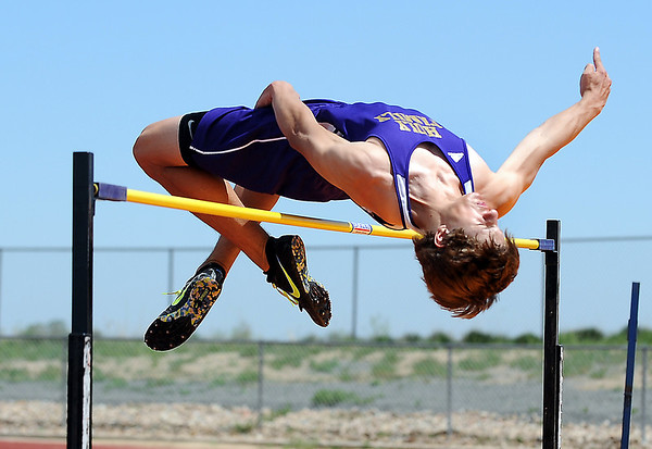 Holy Family's Weston Dinsmore clears the bar in the high jump during Saturday's Tiger Tornado Invitational trackmeet at Mike G. Gabriel Stadium.<br /> May 05, 2012 <br /> staff photo/ David R. Jennings