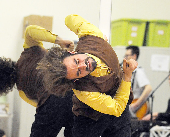 Chris Meis, the preacher, dances during rehearsal for the Ascential Dance Theatre Colorado production of Time of the Preacher (based on Willie Nelsons Red Headed Stranger) at a studio in Lousiville on Friday.<br /> March 16,  2012 <br /> staff photo/ David R. Jennings