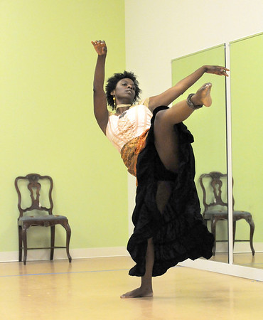 Tobi Compton, wife of the preacher, dances during rehearsal for the Ascential Dance Theatre Colorado production of Time of the Preacher (based on Willie Nelsons Red Headed Stranger) at a studio in Lousiville on Friday.<br /> March 16,  2012 <br /> staff photo/ David R. Jennings