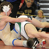 Broomfield's Courtland Hacker wrestles Mario Luna, Green River, Wyoming in the 125 lb. weight class Championship match during the finals of the Top of the Rockies Wrestling Tournament at Centaurus High School on Saturday. <br /> <br /> January 22, 2011<br /> staff photo/David R. Jennings