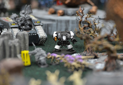 Warhammer 40k pieces are set in an elaborate environment during a game at Total Escape Games on Thursday. The gaming store is holding a ThanksGaming Day fundraiser for Broomfield FISH. October 25, 2012 staff photo/ David R. Jennings