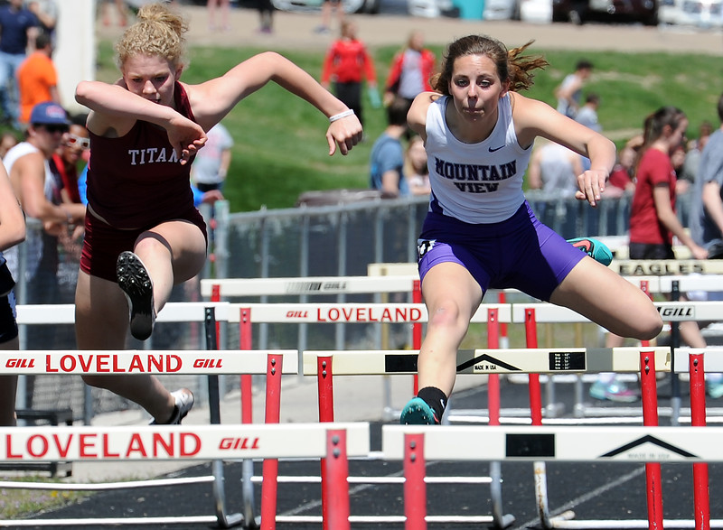Mountain View's Lauren Steege runs the girls 100 meter hurdles Thursday, April 14, 2016, during a track meet at Loveland High School. (Photo by Jenny Sparks/Loveland Reporter-Herald)