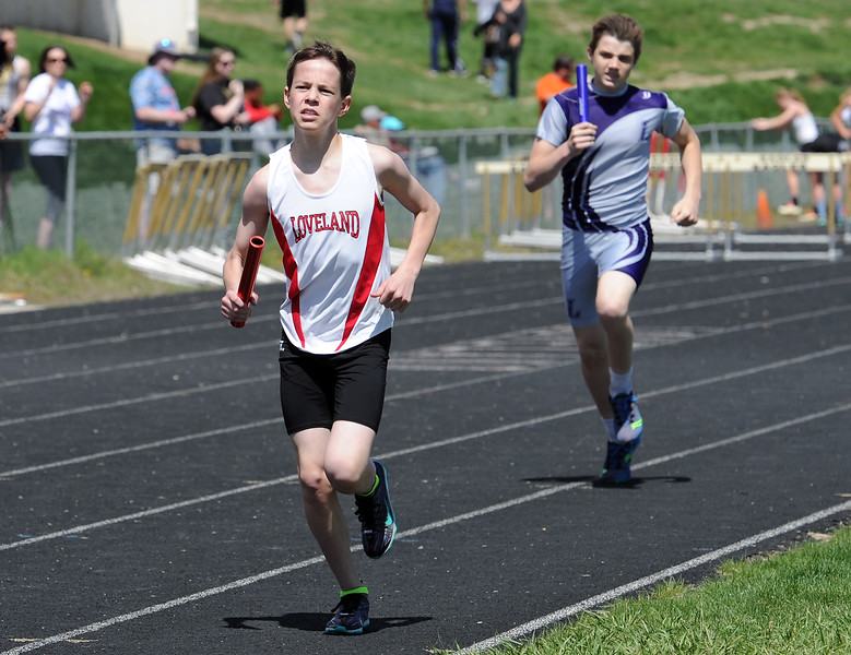 Loveland's Jared Myers runs the boys 4X800 meter relay Thursday, April 14, 2016, during a track meet at Loveland High School. (Photo by Jenny Sparks/Loveland Reporter-Herald)