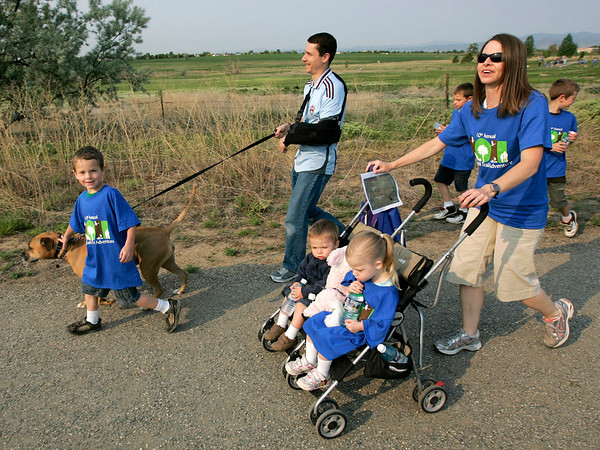 The Carwin family hit the trails during theNational Trails Day event at the Broomfield Commons on Saturday. Photo by Matt Kelley.