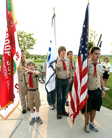 Broomfield Scouts present the colors during the National Trails Day event at the Broomfield Commons on Saturday. Photo by Matt Kelley.