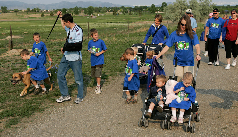 The Carwin and Hansen families hike the trails at the Broomfield Commons during theNational Trails Day event on Saturday. Photo by Matt Kelley.