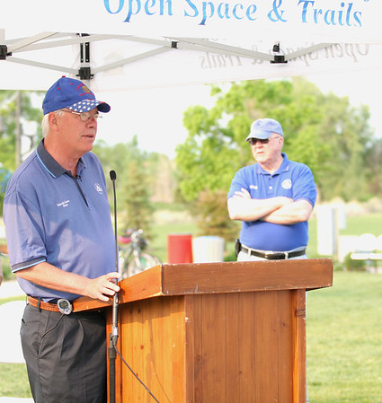 Broomfield Mayor Pat Quinn opens the festivities during the National Trails Day event at the Broomfield Commons on Saturday. Photo by Matt Kelley.
