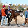 Jack Kleinhelter, 6, with Bill Griffith at his side, rides the Stuart a therapeutic horse lead by Kevin Hall, while trick or treating on horseback around the neighborhood of the Miracles Therapeutic Riding Center for Halloween on Saturday. <br /> October 30, 2010<br /> staff photo/David R. Jennings
