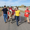 Ellena Kuhns, 3, with her parents Robin and Rich at her side, rides Vanna a therapeutic horse lead by Elizabeth Miller, 17, as they trick or treat on horseback around the neighborhood of the Miracles Therapeutic Riding Center for Halloween on Saturday.<br /> October 30, 2010<br /> staff photo/David R. Jennings