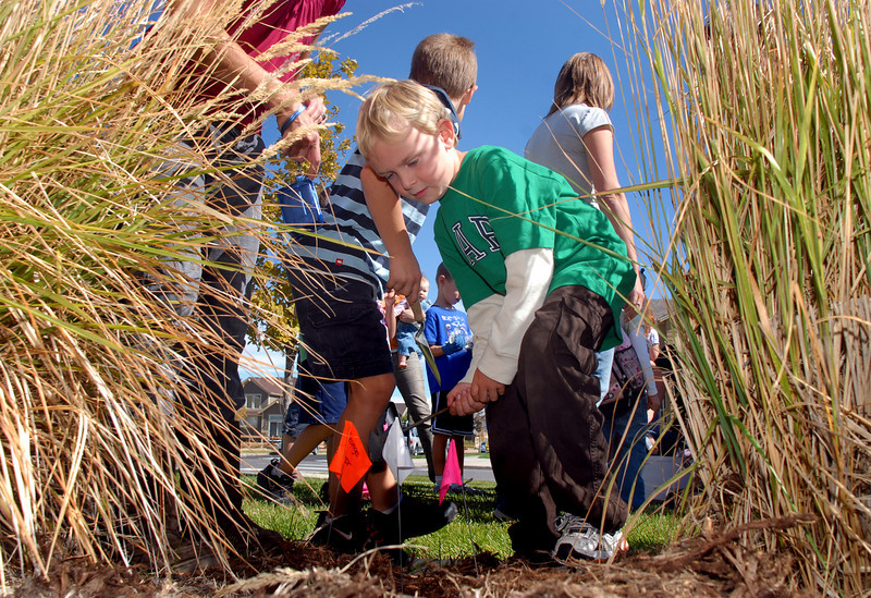 Andrew Blanchette a Meridian Elementary first grader begins digging a hole for planting some of the more than 500 tulips of four different varieties at the school on Friday. <br /> October 8, 2010<br /> staff photo/David R. Jennings