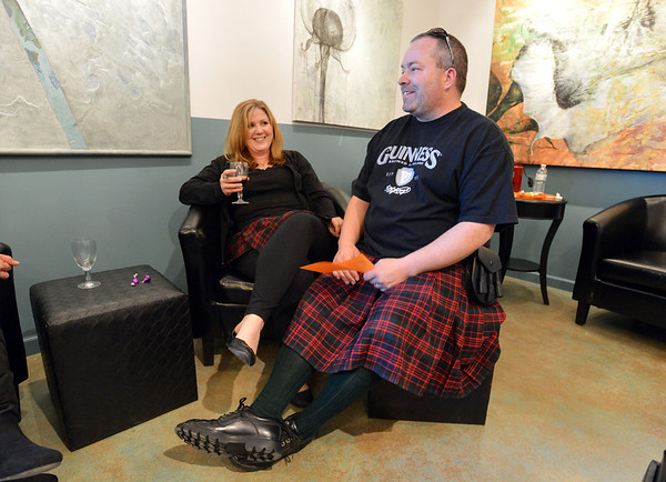 Tami Murphy, left, and her husband Jeremy wore their kilts to theTurquoise Mesa Winery wine club tasting event on Saturday.<br /> Wine tasters who wore tutu's in conjunction with 2/2/2013 were given a prize for their efforts. The  couple's kilts counted as  tutus.<br /> February 2, 2013<br /> staff photo/ David R. Jennings