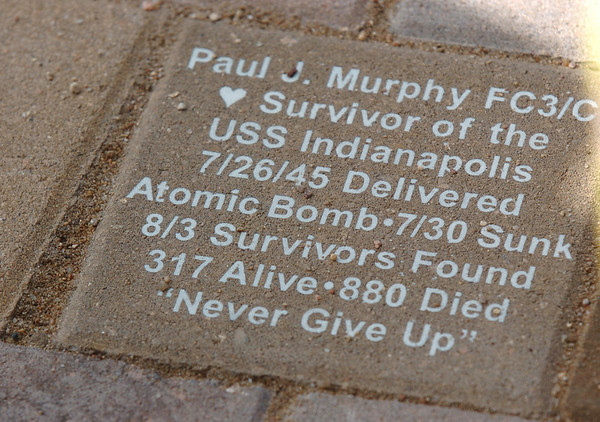 The engraved brick honoring World War II veteran Paul Murphy, a survivor of the sinking of the USS Indianapolis, that was placed at the Westminster Armed Forces Tribute Garden on Thursday. <br /> <br /> July 22, 2010<br /> Staff photo/ David R. Jennings