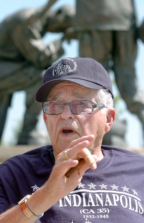 World War II veteran Paul Murphy, survivor of the sinking of the USS Indianapolis, tells his story during the placing of an engraved brick in his honor at the Westminster Armed Forces Tribute Garden on Thursday. <br /> <br /> July 22, 2010<br /> Staff photo/ David R. Jennings