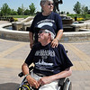 Paul Murphy with his wife Mary Lou after  the World War II veteran and survivor of the sinking of the USS Indianapolis watched the placing of an engraved brick in his honor at the Westminster Armed Forces Tribute Garden on Thursday.<br /> <br /> July 22, 2010<br /> Staff photo/ David R. Jennings