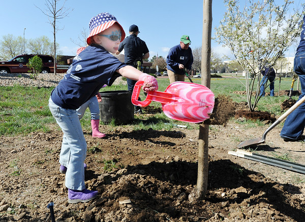 "Evelyn Peterson, 6, uses her shovel to help plant a tree in the area between North Metro Fire Rescue headquarters and Mamie Doud Eisenhower Public LIbrary during the ""Trees for a Healthy Community and Economy"" event on Saturday. <br /> <br /> April 14, 2012 <br /> staff photo/ David R. Jennings"
