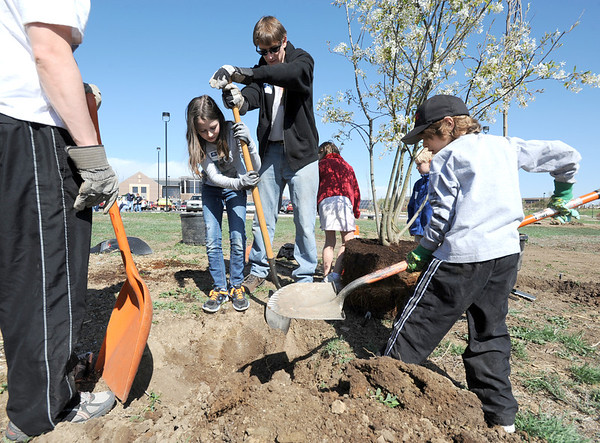 "Katherine Tutt, 11, center, with her father,  Brandon, help dig a hole deeper for a tree with the help of Seth Roberts, 8, right, and his father Marc, left,  in the area between North Metro Fire Rescue headquarters and Mamie Doud Eisenhower Public LIbrary during the ""Trees for a Healthy Community and Economy"" event on Saturday. <br /> <br /> April 14, 2012 <br /> staff photo/ David R. Jennings"
