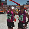 BOLDER<br /> Mamitu Daska of Ethiopia, left, winner of the women's elite race, celebrates with teammate Amane Gobena at the finish line during the 32nd Annual Day Bolder Boulder on Monday.<br /> Photo by Marty Caivano/Camera/May 31, 2010