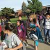 Emerald Elementary School students begin walking around the school for Walk To School Day on Wednesday.<br /> October 5, 2011<br /> staff photo/ David R. Jennings