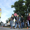 Students a parents walk across Birch St. to Birch Elementary School for Walk To School Day on Wednesday. <br /> October 5, 2011<br /> staff photo/ David R. Jennings