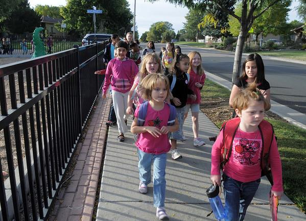 Emerald Elementary School students walk around the school for Walk To School Day on Wednesday.<br /> October 5, 2011<br /> staff photo/ David R. Jennings