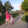 Mia Lindstrom walks to Birch Elementary School for Walk To School Day on Wednesday. <br /> October 5, 2011<br /> staff photo/ David R. Jennings