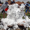 Head counselors Kevin Burnett, left, Steven DiMassimo and Mark Thomason, in back, were covered in shaving cream by students during the water fight marking the last day of the Totus Tuus program at Nativity of Our Lord Church and School on Friday.<br /> June 17, 2011<br /> staff photo/David R. Jennings