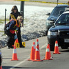 Criminalists begin marking rounds at the scene of a shoot out with Westminster Police at eastbound 120th Ave. and Federal Blvd. on Thursday.<br /> Two Westminster officers were shot in the gun battle. Federal is closed both directions from Federal Blvd. to Pecos St.<br /> November 19, 2009<br /> Staff photo/David R. Jennings