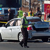 An investigator at the scene of a shoot out with Westminster Police at eastbound 120th Ave. and Federal Blvd. on Thursday.<br /> Two Westminster officers were shot in the gun battle.<br /> November 19, 2009<br /> Staff photo/David R. Jennings