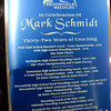The plaque showning the accomplishment of  Mark Schmidt, Broomfield High's head wrestling coach, who is retiring this year.<br /> January 28, 2010<br /> Staff photo/David R. Jennings