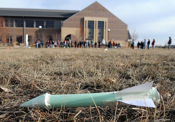 A rocket named Bob made the farthest distance from the launch platform during the Rocket Works program Saturday at Mamie Doud Eisenhower Public Library.<br /> <br /> February 6, 2010<br /> Staff photo/David R. Jennings