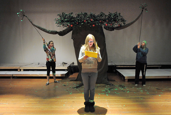 Beth Allen, 12, rehearses her narrator lines during the Young Actors Theatre Camp by the Broomfield High School Thespians at the school on Tuesday. <br /> December 29, 2010<br /> staff photo/David R. Jennings