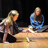 Sierra George, 10, left, moves her puppet while Madison Goering narrates the story for a skit during the Young Actors Theatre Camp by the Broomfield High School Thespians at the school on Tuesday. <br /> December 29, 2010<br /> staff photo/David R. Jennings