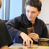 Jason Hayward, 16, plays his best friend Austin Krahl, 16, during the Yu-Gi-Oh! tournament at Mamie Doud Eisenhower Public Library on Tuesday.<br /> November 23, 2010<br /> staff photo/David R. Jennings