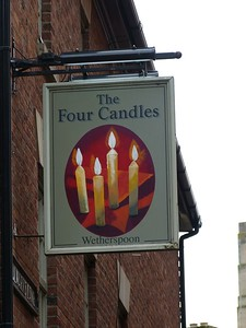 Pub Sign - The Four Candles, George Street, Oxford 180410