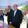 Katie Millett, executive director of the Office for Nutrition, Health and Safety Programs within the Massachusetts Department of Elementary and Secondary Education, Miranda E. Miranda, the Branch Chief for the Community Nutrition Programs of Special Nutrition Program, John Polanowicz, Secretery of the Executive Office of Health and Human Services, U.S. Representative Jim McGovern and Leominster Mayor Dean Mazzarella at the Spanish American Center in Leominster. SENTINEL & ENTERPRISE / Ashley Green