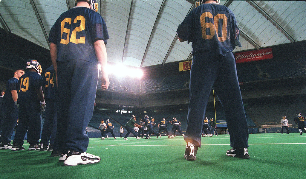 . Toledo football practice at the Silverdome early this morning for the Moror City Bowl.