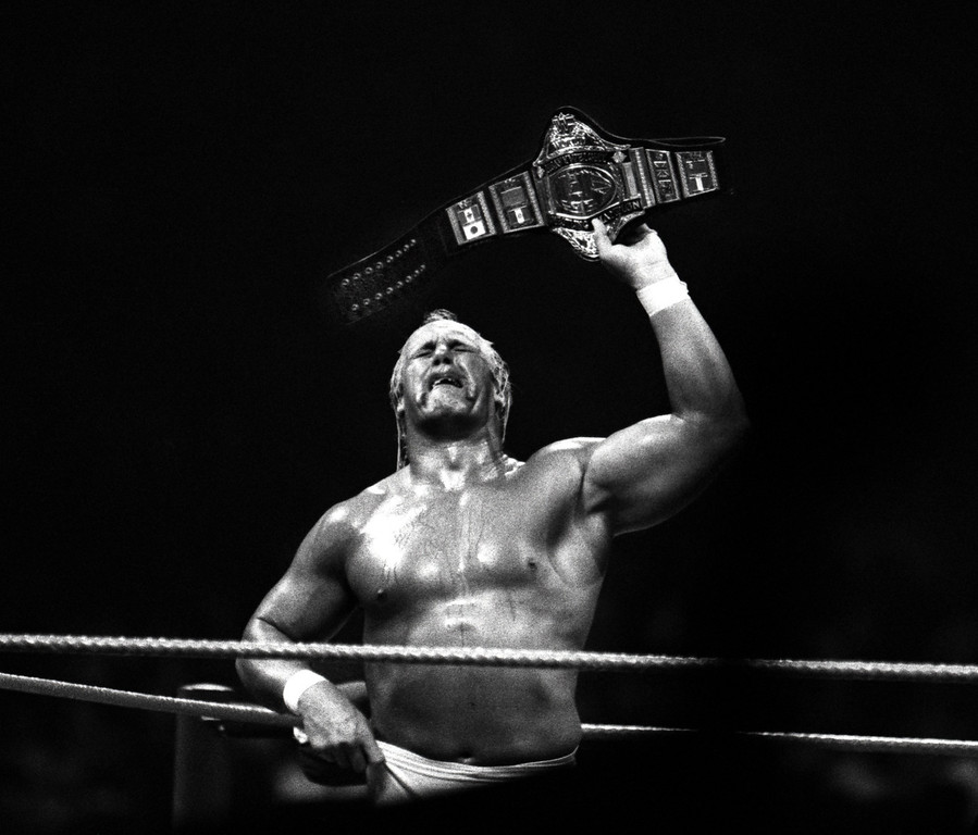 . A weeping Hulk Hogan holding up the championship belt, is over come with tears after defeating Andre The Giant at the Pontiac Silverdome.  Photo taken 3-29-87.