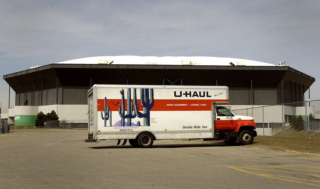 . A U-Haul moving van sits outside of the Pontiac Silverdome.  The Detroit Lions are to be moved out of the Silverdome by Monday, April 1, 2002.