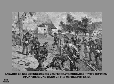 By mid afternoon the Confederates have pushed the Union lines back to the McPherson Barn.