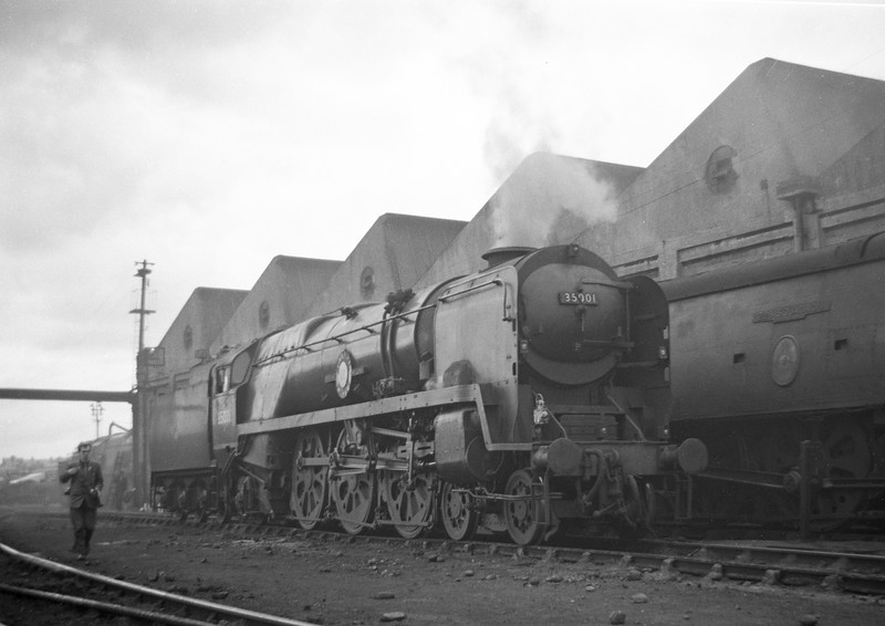 35001 Channel Packet, Exmouth Junction Shed, Exeter, May 19, 1963. 34063 229 Squadron is in the background.