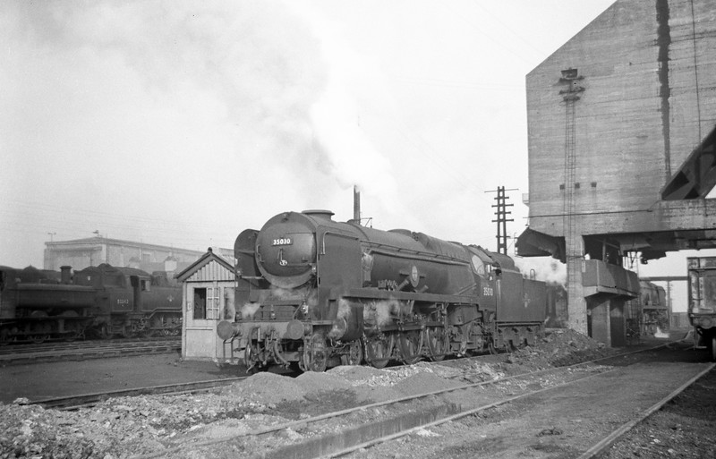 35030 Elder Dempster Lines, Exmouth Junction Shed, Exeter, May 19, 1963.