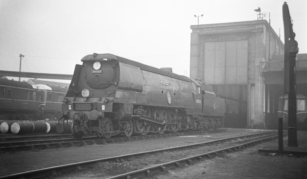 34054 Lord Beaverbrook, Exmouth Junction Shed, Exeter, May 19, 1963.