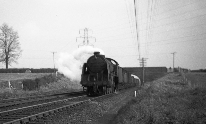 30825, down freight, near Whimple, East Devon, February 23, 1963.