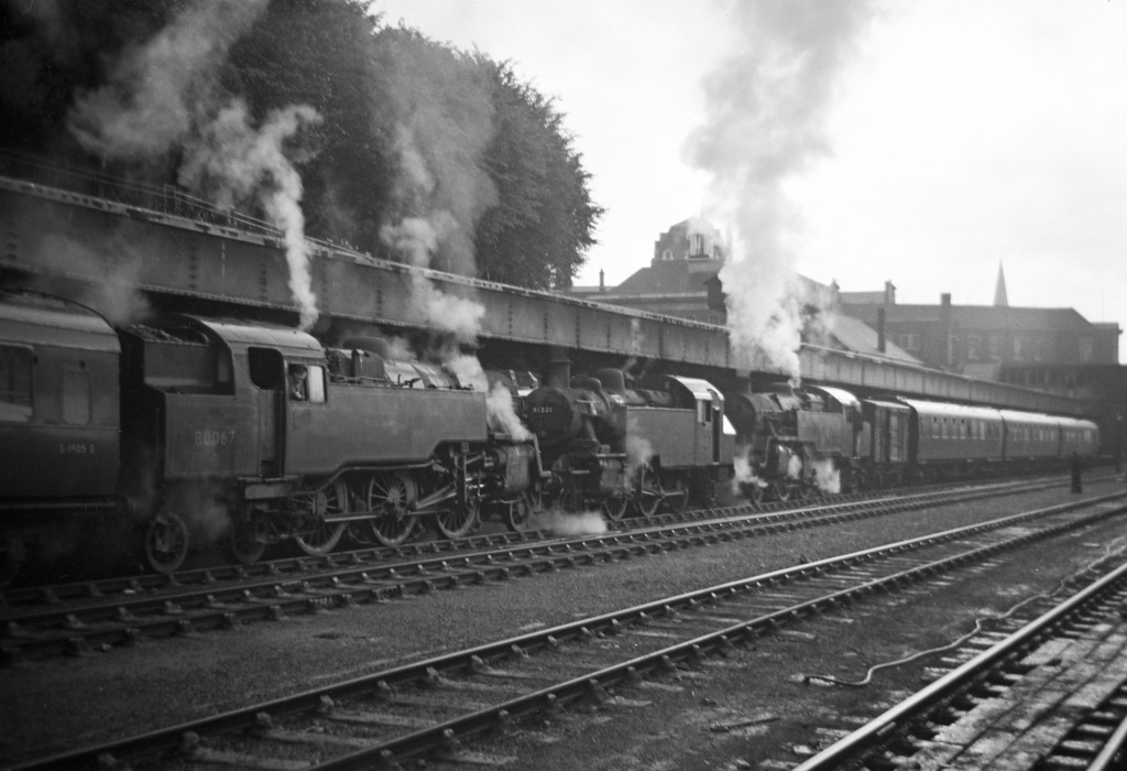 80067, down stopper, Exeter Central, August 13,1963; 41321, station pilot; 80040, shunting stock.