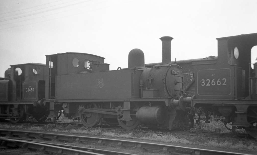 30102, Eastleigh Shed, May 30, 1964.