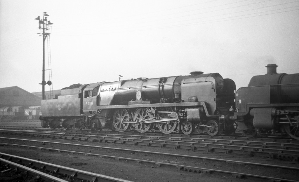 34109, Sir Trafford Leigh-Mallory, Exmouth Junction Shed, Exeter, May 19, 1963.