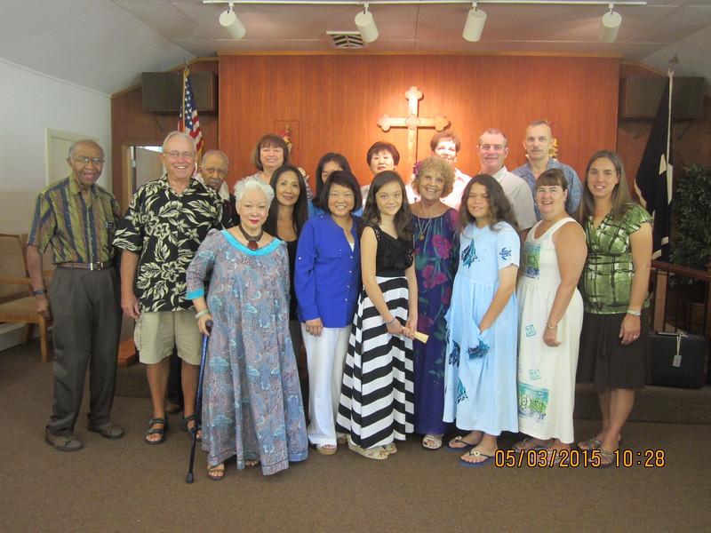 Lynne with chapel family: Essex - Jim - Win - Lita - Barbara - Jennifer -Marily - Yoon Hi (hiding)- Jann-Rebekah-Lynne- Patty & Ken, Anna - Judy - Randy - Jen